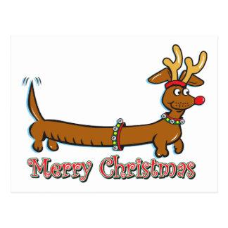 Postal Dachshund de las Felices Navidad