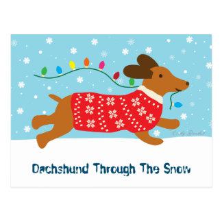 Postal Dachshund lindo con el día de fiesta del navidad