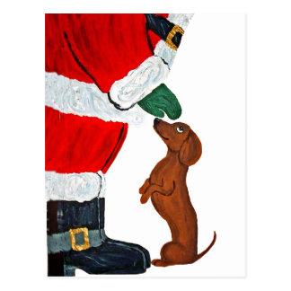 Postal Dachshund y Santa