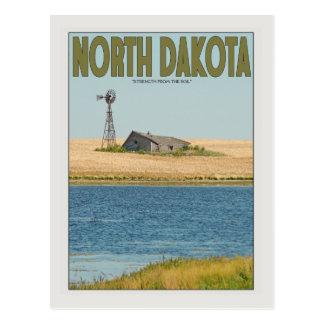 Postal Dakota del Norte - granja vieja - verde