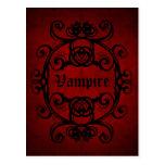 Postal Damasco gótico elegante del vampiro rojo y negro