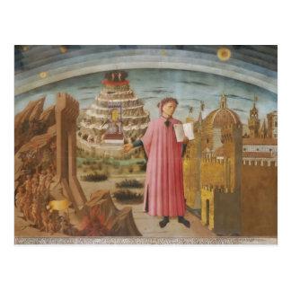 Postal Dante y los accesorios divinos del arte del