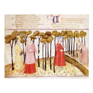 Postal Dante y Virgil en la cumbre del purgatorio