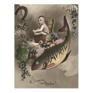 Postal D'avril de Poisson del trébol de la hoja del bebé