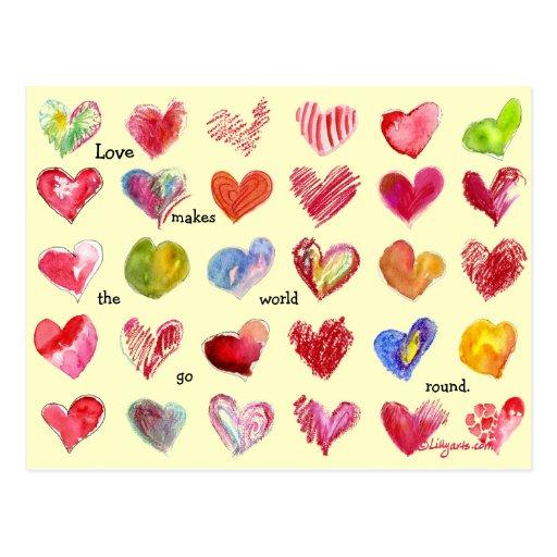 Postal de 30 corazones de la tarjeta del día de Sa