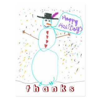 Postal De agradecimiento del muñeco de nieve de los