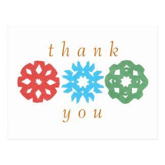 Postal De agradecimiento del trío del copo de nieve del