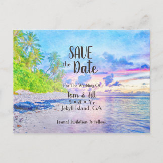 Palm Beach Watercolor Photo Save The Date
