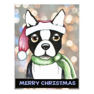 Postal de Boston Terrier Santa