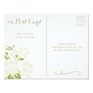 Postal de color caqui floral elegante de RSVP Invitación 10,8 X 13,9 Cm