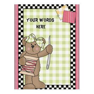 Postal de costura del oso