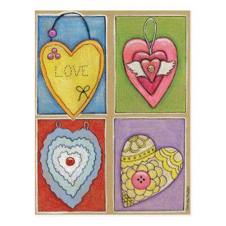 Postal de cuatro corazones