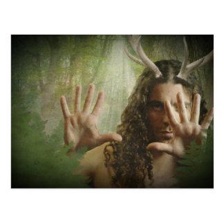 Postal de cuernos del bosque de dios