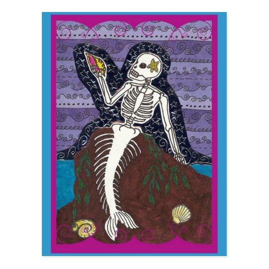 Postal de Dia de Los Muertos Mermaid
