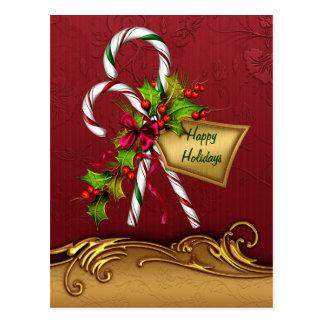 Postal de encargo del navidad del bastón de