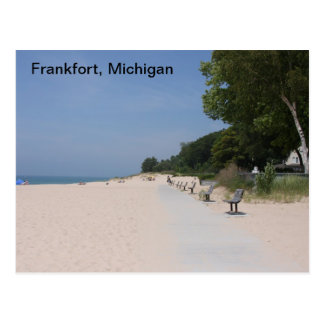 Postal de Frankfort Michigan a orillas del lago