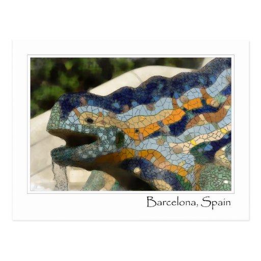 Postal de Guell del parque de Barcelona España