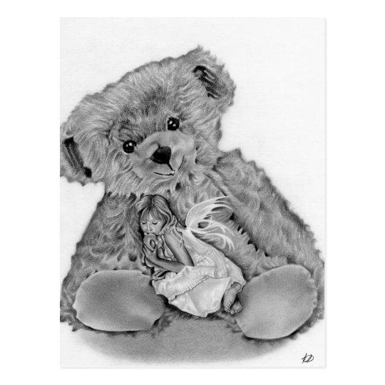 Postal de hadas del oso de peluche pequeña