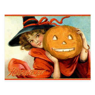 Postal de Halloween de la calabaza de la bruja del