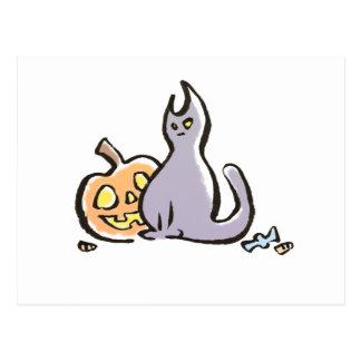 Postal de Halloween del gato y de la