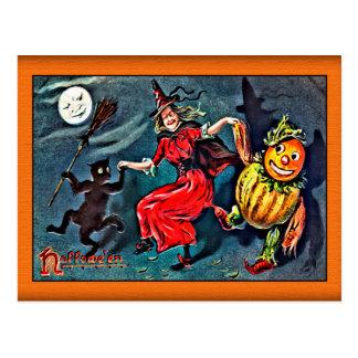 Postal de Halloween del vintage, pliegue C. 1900