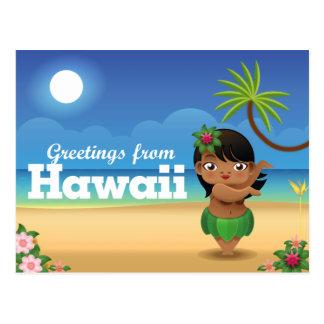 Postal de Hawaii - bailarín de Hula