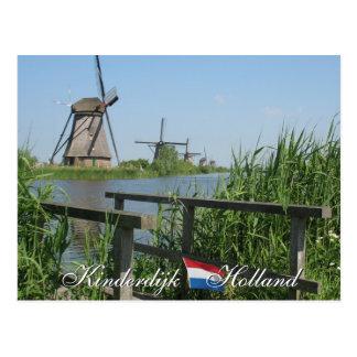 Postal de Holanda de los molinoes de viento de