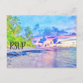 Postal De Invitación Acuarela colorida RSVP de la puesta del sol del