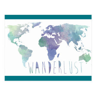 Postal de la acuarela del Wanderlust