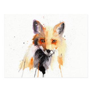 postal de la acuarela del zorro