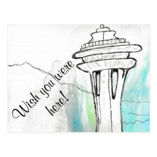 Postal de la aguja del espacio de Seattle de la