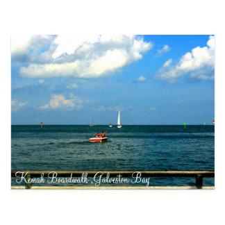 Postal de la bahía de Galveston del paseo marítimo
