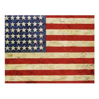 Postal de la bandera americana del vintage
