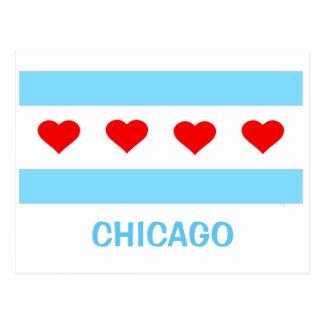 Postal de la bandera del corazón de Chicago