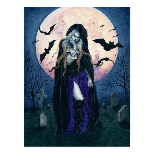 Postal de la bruja de Halloween de la luna de