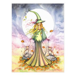 Postal de la bruja del otoño de los sujetalibros