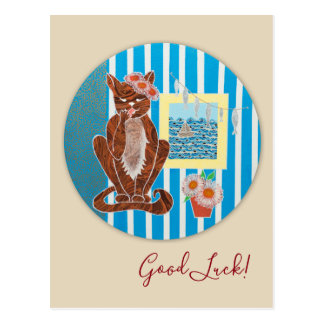 Postal de la buena suerte con el gato del gatito