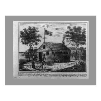 Postal de la cabaña de madera y de la sidra dura