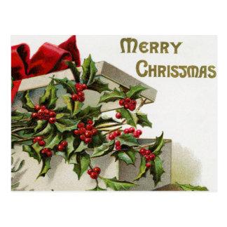 Postal de la caja de la baya del acebo del navidad
