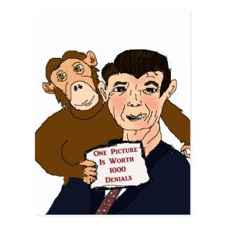 Postal de la caricatura de Ronald Reagan