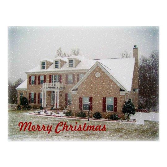 Postal de la casa de la nieve del navidad