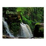 Postal de la cascada de la selva tropical del Bras