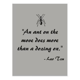 Postal de la cita de la hormiga de Tzu del Lao