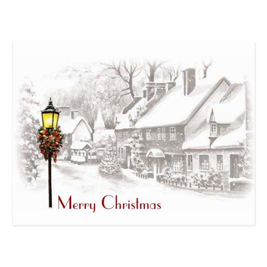 Postal de la ciudad del navidad del vintage