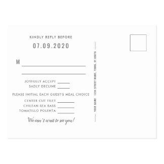 Postal de la contestación del boda del brillo del