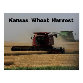 Postal de la cosecha del trigo de Kansas