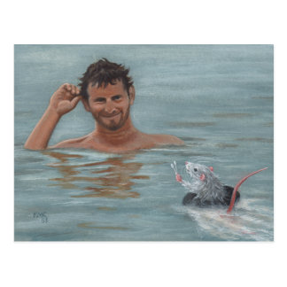 Postal de la esponja de algodón de la natación del
