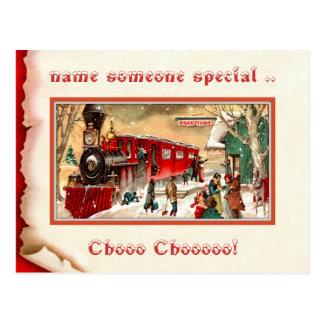 Postal de la estación de tren del navidad del