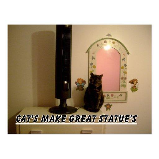 postal de la estatua del gato