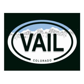 Postal de la etiqueta de la montaña de Vail Colora